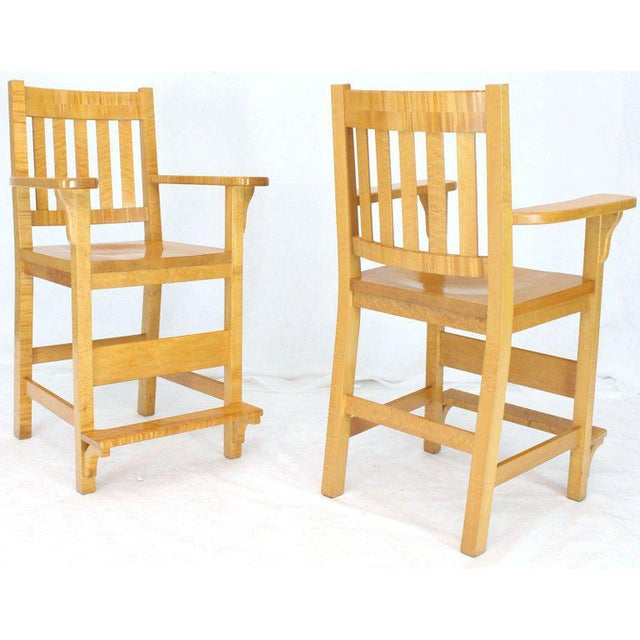 Pair of very fine custom-made rock solid bird's-eye and tiger maple bar stools.