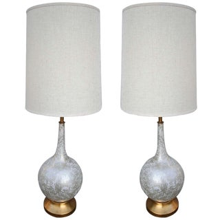 Murano Glass Lamps With Brass Base - a Pair For Sale