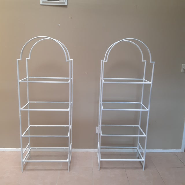 Metal 1970s Hollywood Regency Etageres - a Pair For Sale - Image 7 of 7