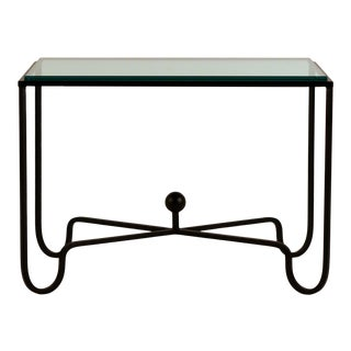 Chic Blackened Steel and Glass 'Entretoise' Side Table by Design Frères For Sale