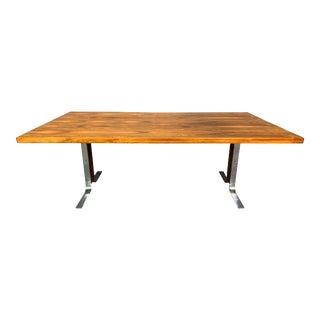 Vintage Danish Mid Century Modern Rosewood and Chrome Large Coffee Table For Sale
