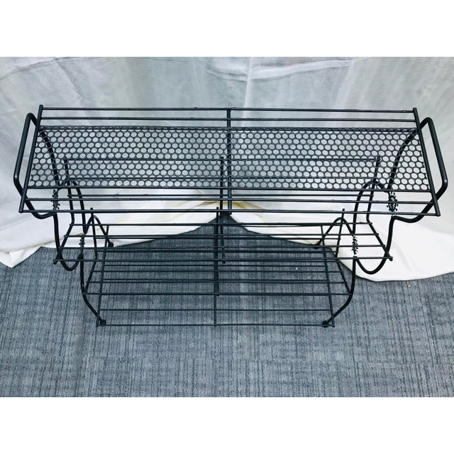 1960s Vintage Mid Century Modern Black Wire Plant Stand Bookshelf For Sale In Saint Louis - Image 6 of 12