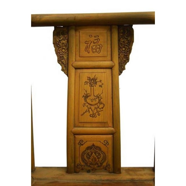 19th Century Chinese Lacquered Carved Elmwood Chair with Traditional Motifs For Sale In New York - Image 6 of 10