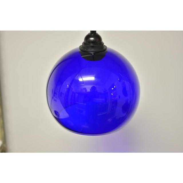 Mid-Century Modern Blue Glass Pendant Light - Image 4 of 6
