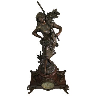 August Moreau Figural Clock For Sale