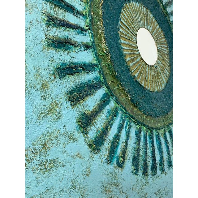 Teal 36x36 Original Mixed Media Starburst Painting 1970s For Sale - Image 8 of 11