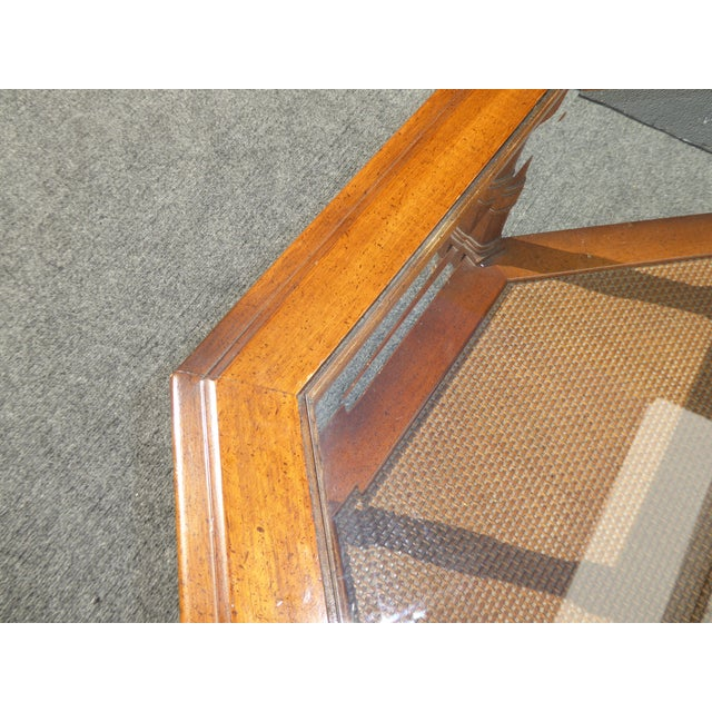Mid Century Octagon Beveled Glass Top Coffee Table - Image 6 of 9