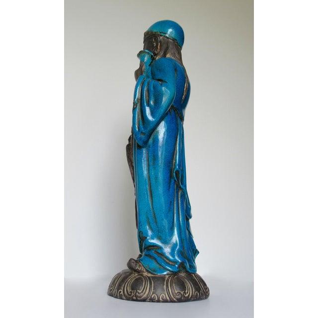 C1950s Rare Italian Ugo. Zaccagnini Terra Cotta Crackle Glaze Persian Blue Asian Figure For Sale In West Palm - Image 6 of 13