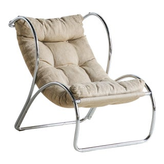Italian Chrome Accent Chair For Sale