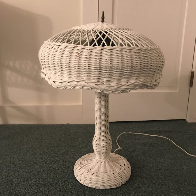 1950s Vintage Wicker Lamp For Sale - Image 13 of 13
