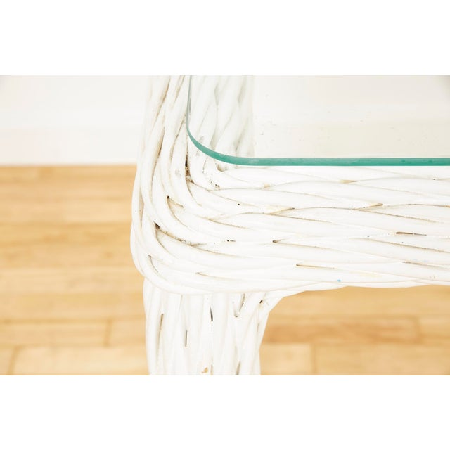 1980s Vintage Thick White Wicker Console Table, 1980s For Sale - Image 5 of 13