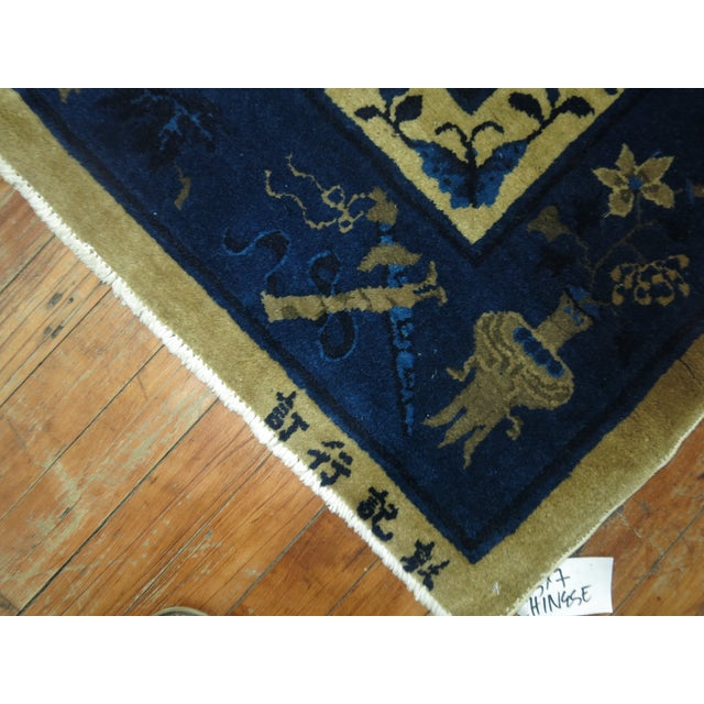 Chinese Brown and Blue Antique Chinese Signatured Rug, 5' X 7'9'' For Sale - Image 3 of 9