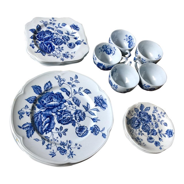 Johnson Brothers English Blue & White Dinnerware For Sale