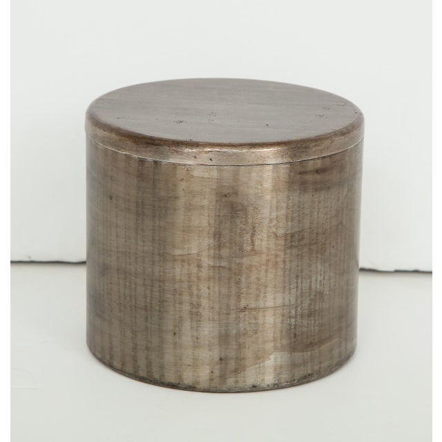 Gray Hammered Steel Canister by Philolaos For Sale - Image 8 of 8