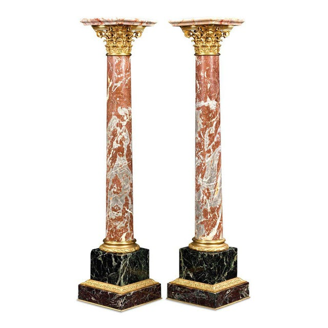 French 19th Century Marble and Bronze French Pedestals For Sale - Image 3 of 4