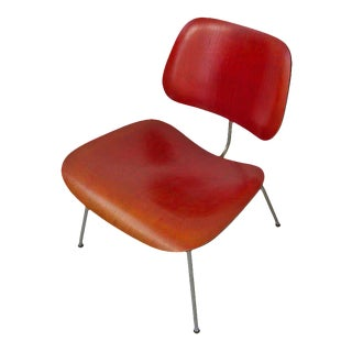 Early Eames Lcm Lounge Chair in Red