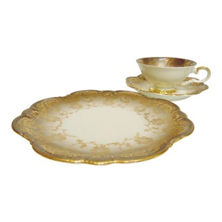 Johann Seltmann Vohenstraub Footed Cup, Saucer & Cake Plate - Set of 3 For Sale