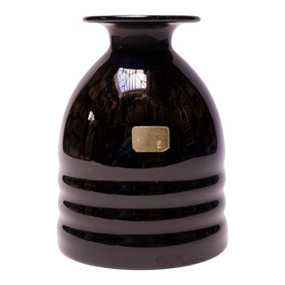 1960s German Lausitzer Glas Black Crystal Vase For Sale