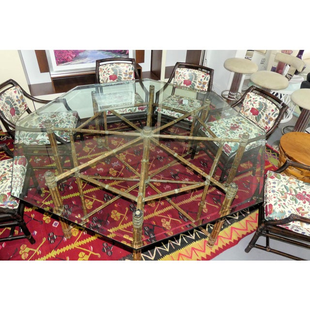Wood McGuire Bamoo and Laced Rawhide Octagonal Dining Table For Sale - Image 7 of 13
