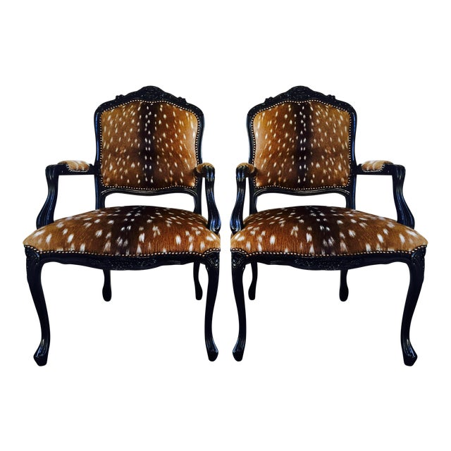 French Axis Deer Arm Chairs - Pair For Sale