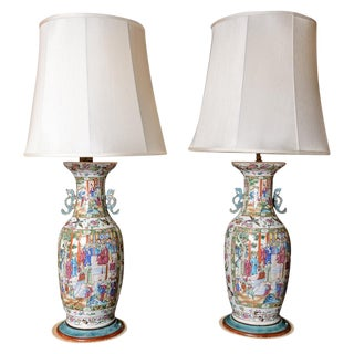 Rose Medallion Porcelain Table Lamps - a Pair For Sale