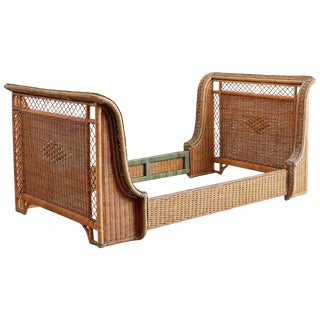 French Grange Art Deco Wicker Sleigh Bed For Sale