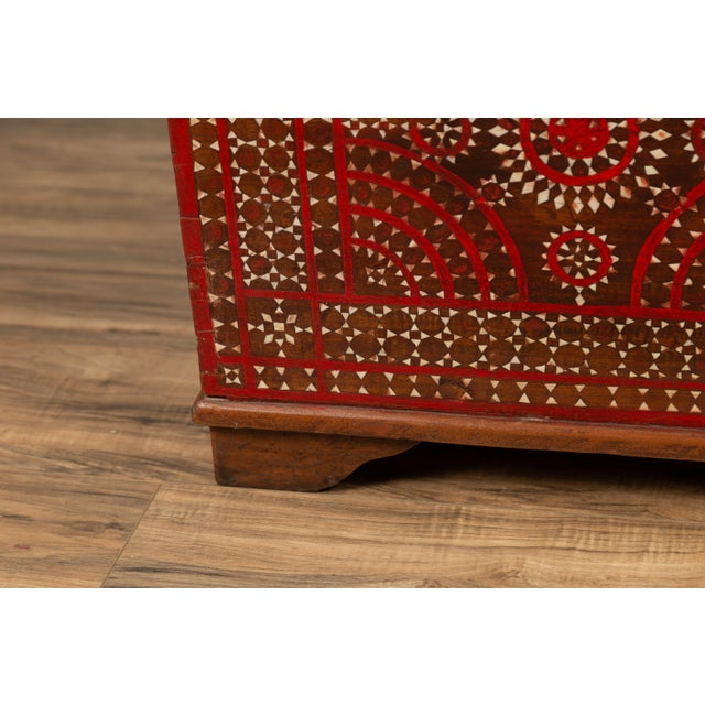 Anglo-Indian Antique Madura Blanket Chest With Inlaid Mother-Of-Pearl Red Geometric Decor For Sale - Image 3 of 13