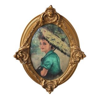 Spanish Lady in Antique Wooden Rococo Frame For Sale