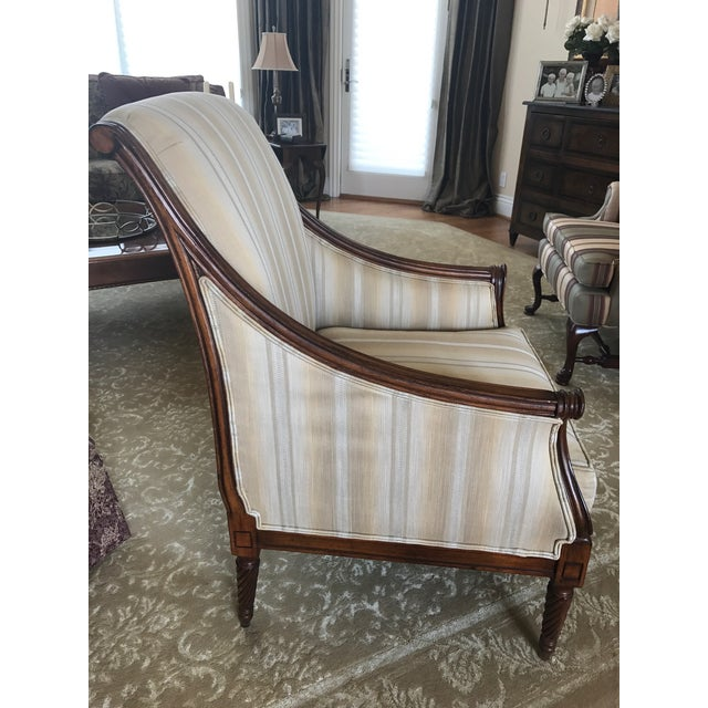 Drexel Heritage Neutral Stripe Bergere Chair For Sale - Image 5 of 9