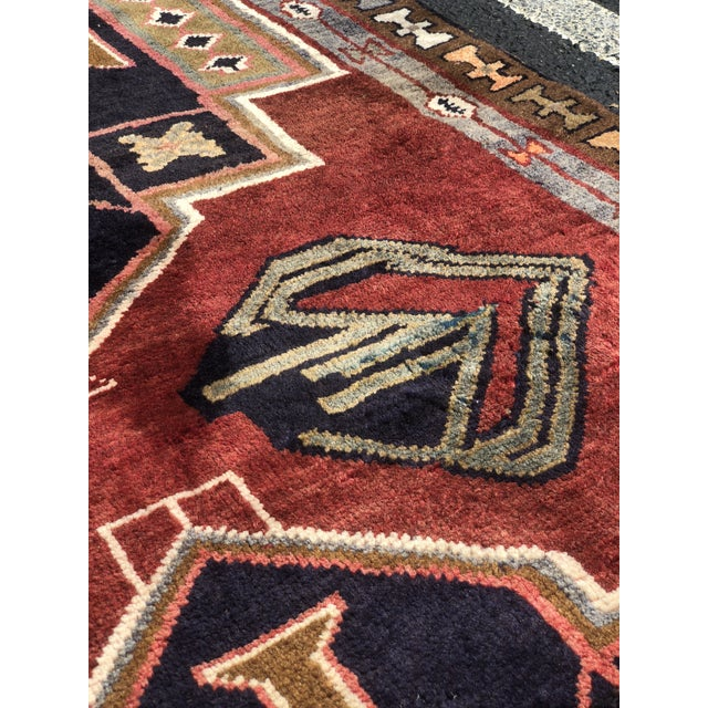 "Red 1950s Art Deco Persian Meshkin Wool Runner - 3'8""x11'7"" For Sale - Image 8 of 13"