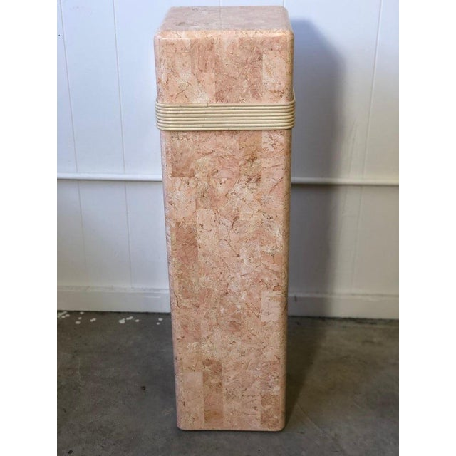 Pink Tessellated Stone Pedestal With Rattan Ribbon Tie For Sale - Image 4 of 5