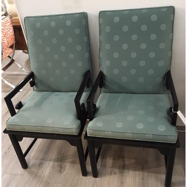 Textile Pair Asian Style Chairs For Sale - Image 7 of 7