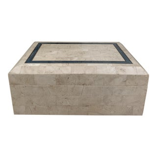 Vintage 1980s Maitland-Smith Style Tessellated Travertine and Marble Box For Sale