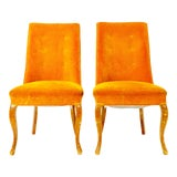 Image of 1960s Vintage Goldenrod Velvet Dining Chairs - a Pair For Sale