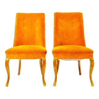 1960s Vintage Goldenrod Velvet Dining Chairs - a Pair For Sale