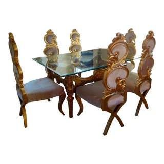 Ivory & Gold Italian Baroque Dining Set For Sale