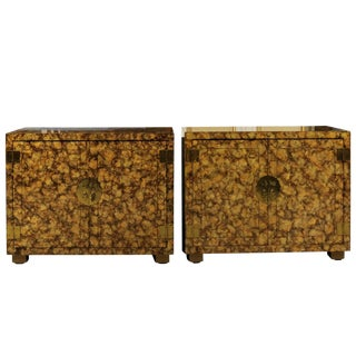 Restored Pair of Vintage Faux Tortoise Shell Cabinets by Henredon, Circa 1975 For Sale