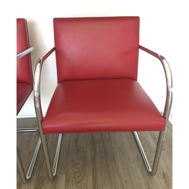 Knoll Knoll Brno Red Spinneybeck Leather Mid-Century Modern Chairs - a Pair For Sale - Image 4 of 8