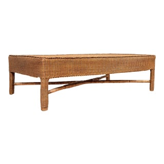 Midcentury Vintage Burmese Rattan Coffee Table with X-Form Cross Stretcher For Sale