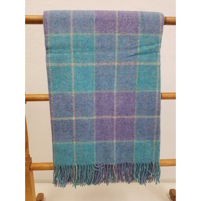 Wool Throw Aqua Blue, Yellow and Purple Stripes and Squares - Made in England For Sale In Dallas - Image 6 of 6
