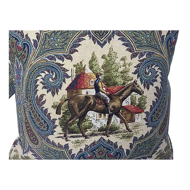 A pair of custom pillows made with a French jockey print fabric on both the front side and back with self cording at the...