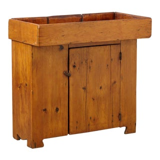 19th Century American Primitive Puristic Pine Dry Sink / Dry Bar For Sale