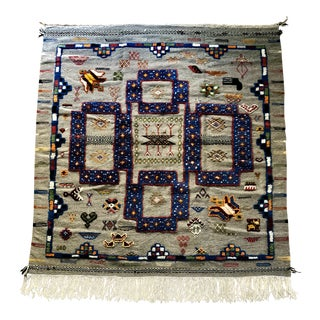 Moroccan Berber Kilim Area Rug - 4′11″ × 5′1″ For Sale