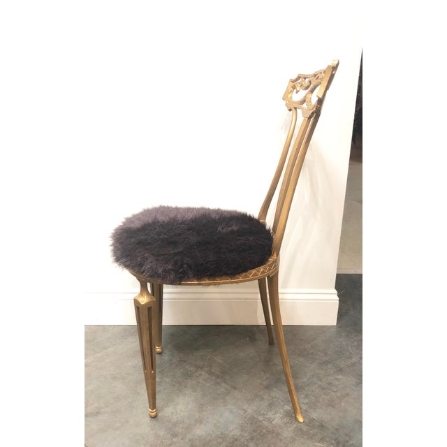 Purple 1950s Vintage Italian Neoclassical Style Gold Gilt Wrought Iron Accent Chair For Sale - Image 8 of 12