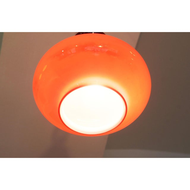 Midcentury hanging lamp made of glass & steel For Sale - Image 10 of 11