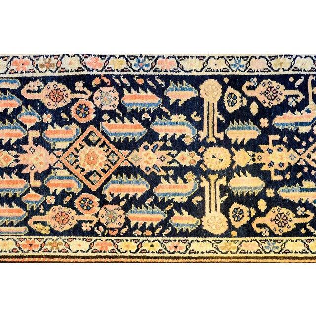 Early 20th Century Kurdish Shrimp and Flowers Indigo Runner - 3′6″ × 11′4″ - Image 3 of 5