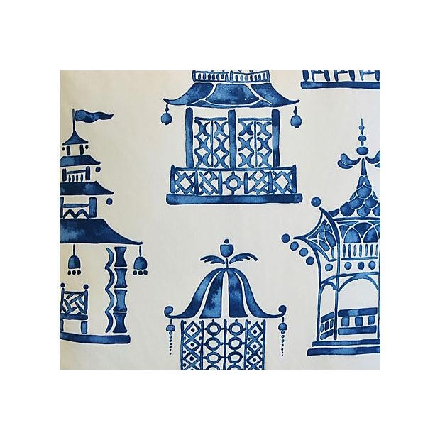 "Blue & White Chinoiserie Pagoda Feather/Down Pillows 24"" Square - Pair For Sale - Image 9 of 11"
