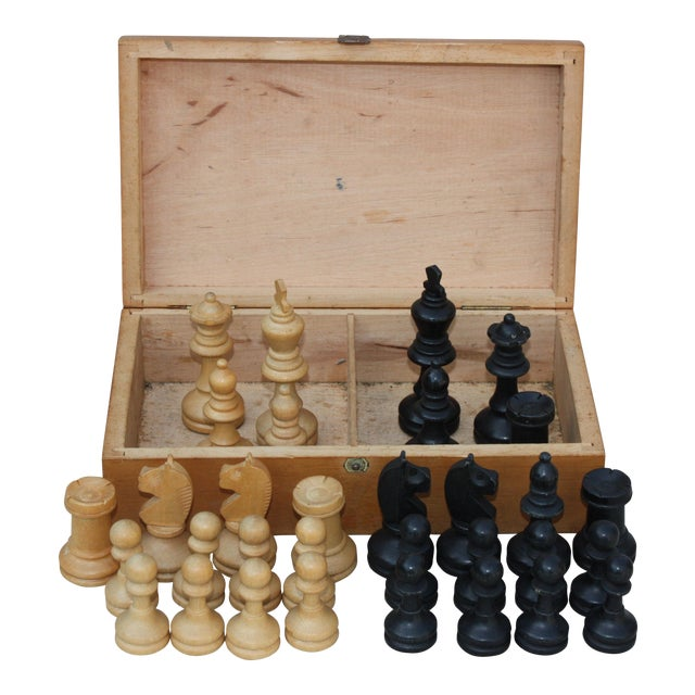 Vintage Wood Chess Set - Image 1 of 4