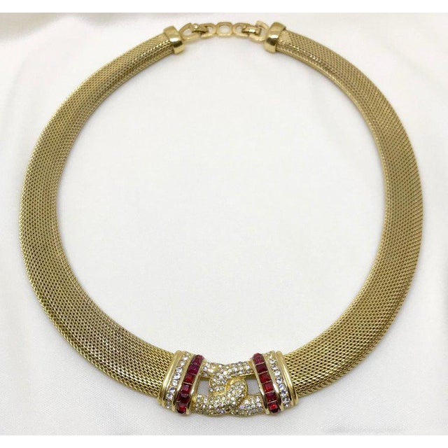 Contemporary 1970s Christian Dior Woven Goldtone Necklace With Red Faceted Stones For Sale - Image 3 of 6