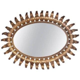 Hollywood Regency Oval Brass Mirror For Sale